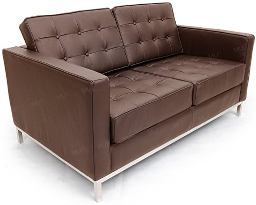 MLF Florence Knoll Style Loveseat Sofa, Dark Brown Top Grain Italian Leather