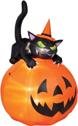 Halloween Inflatable 6 Animated Black Cat On Pumpkin By Gemmy Garden Outdoor