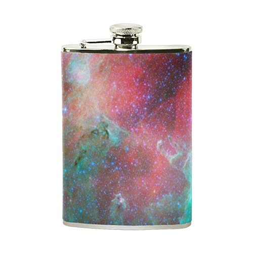 Hip Flask 8 Oz Star Field Retro Stainless Steel & PU Leather Portable Liquor Flask Pocket Flagon Wine Pot for Men/Women