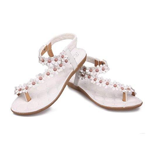Sandalen,Sannysis Damen Sommer Bohemia Süße Perlen Sandalen Clip Toe Sandalen Strandschuhe Outdoor Schuhe Flache Mode Schuhe Weiß