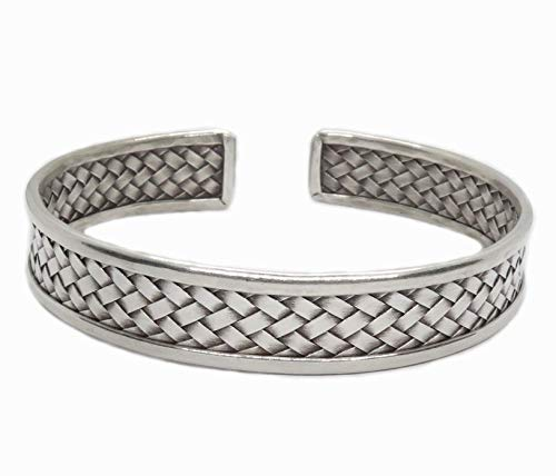 Braided Sterling Silver Cuff Bracelet, Handmade Boho Ethnic Tribal woven silver Bangle for Women or Men