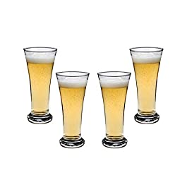 Beer Tumbler, Beer Glasses 9 Oz, Modern Clear Party Glassware Set of (4)