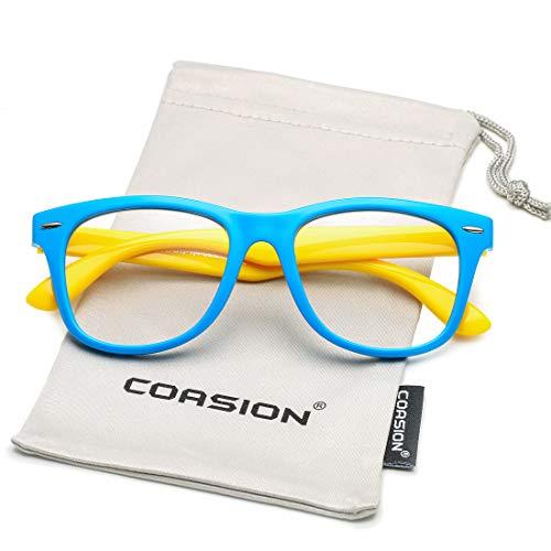 COASION Kids Clear Glasses for Little Girls Boys, Geek Fake Nerd Eyeglasses for Costume (Age 4-12) ()