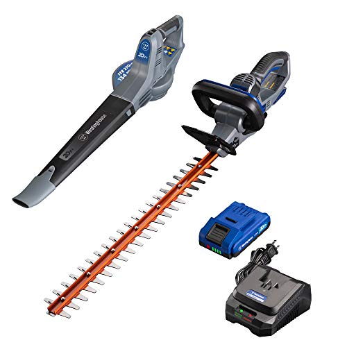 Westinghouse Cordless Hedge Trimmer and Leaf Blower, 2.0 Ah Battery and Rapid Charger Included