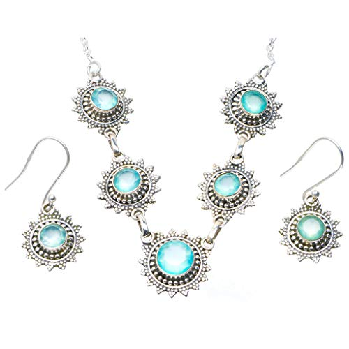 Natural Chalcedony 925 Sterling Silver Jewelry Set Necklace 18.25