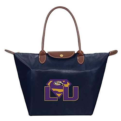 Women's Water Resistance Nylon Foldable Large Tote Bag, LSU Shopping Shoulder Handbags Navy