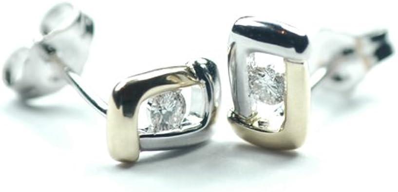 Boucles d'oreille - 7Y16D - Pendientes de mujer de oro bicolor (9k) con diamantes
