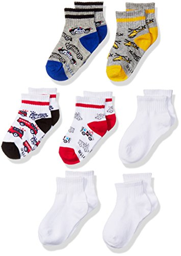 Rite Blend - Stride Rite Little Boys' Fun Fashion Quarter Cot-n Blend, Austan Emergency, Sock Size 6-7.5/Shoe Size 7-10 (Pack of 7)