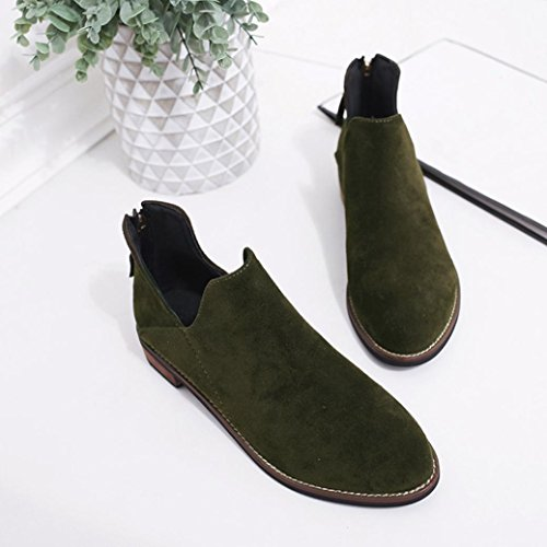 Green Faux Buckle Warm Boots Zip Shoes Creazy Solid Boots Martin Women Ladies Ankle t7wTSa
