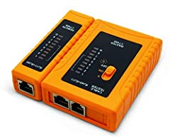 With iMBPrice continuity tester you can check LAN patch cable (RJ45) and telephone cable (RJ11) for pass, open, short or cross wire. You can quickly test cables using scan mode, or step mode to check connection one contact at a time. Detachab...
