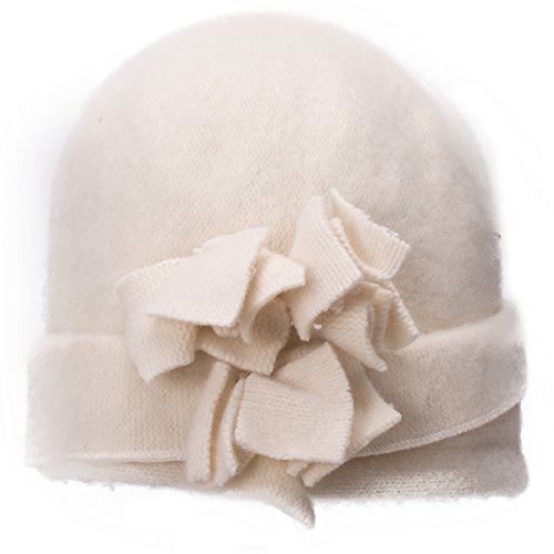 - Lawliet Womens 1920s Gatsby Wool Flower Beanie Cloche Crochet Cap Hat A388 (White)