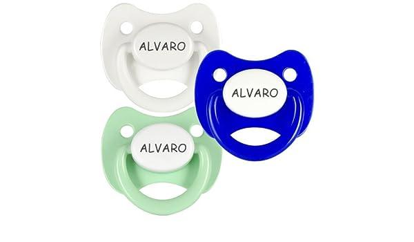 Pack 3 chupetes personalizados con el nombre de Alvaro ...