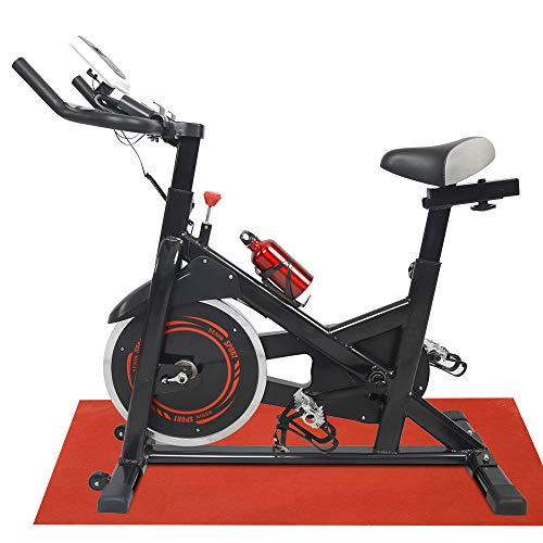 Apelila Spinning Bike Exercise Stationary,Health Fitness Indoor Cardio Cycling Bicycle with LED Screen,Phone Holder,Free Mat & Water Bottle