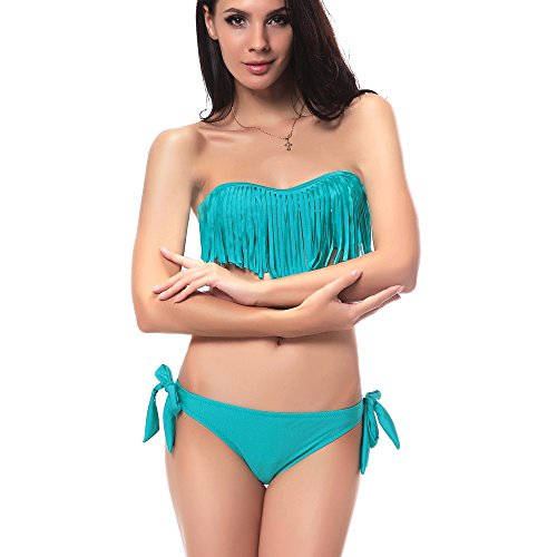DJT Sexy Fringe Scoop Halter Bikini Top & Bottom Set Swimsuit Bathing Suit