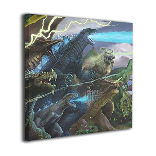 Little Monster Godzilla 2 King of The Monsters 2019 Framed and Stretched Printing On Canvas Wall Decor Modern Artwork Art for Boys and Girls Bedroom 12x12in -