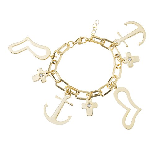 Nickel Free Costume Jewellery Uk (Stainless Steel Dangling Asymmetrical Heart/Anchor & Cross Charms Oval Link Bracelet)