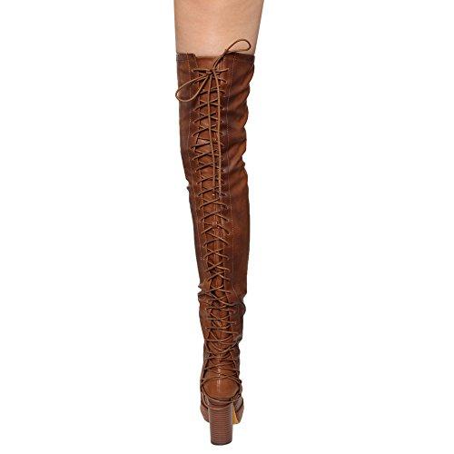 Chase & Chloe EE81 Frauen Oberschenkel hohe Schnürschuhe mit hohem Absatz Cognac