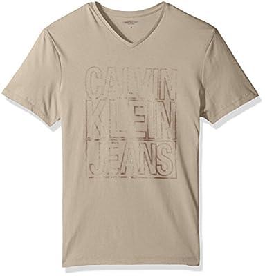 Calvin Klein Jeans Men's Short Sleeve Outline Logo V-Neck T-Shirt