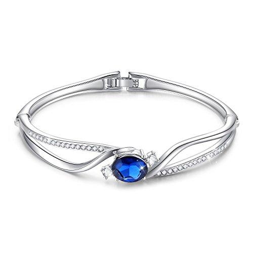 "Menton Ezil Eternal Love"" Women Jewelry Blue Crystals Bangle Bracelet For Her-Birthday, Wedding And Anniversary Gift Crystal Hinge Bangle Bracelet"