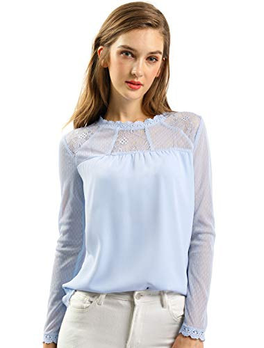 Allegra K Women's Lace Floral Panel Long Sleeves Peasant Blouse Crew Neck Chiffon Top Shirt L Light Blue