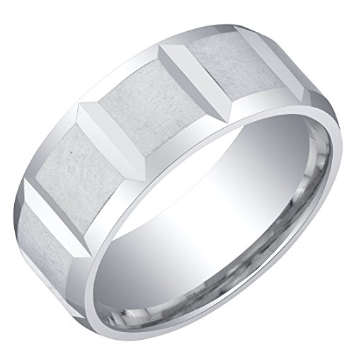 Mens Sterling Silver Delta Wedding Ring Band in Brushed Satin 8mm Comfort Fit Size 10 ()
