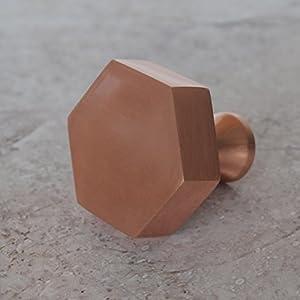 copper door knobs. matte copper plated rose gold solid brass hexagonal cupboard door knob. 38mm contemporary bronze handle comes with standard screw that suits doors up knobs