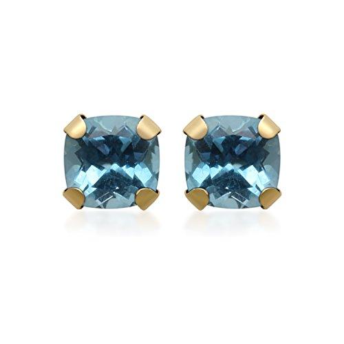 Blue Topaz 10kt Ring - Jewelili 10kt Yellow Gold 5x5mm Cushion Cut Swiss Blue Topaz Stud Earrings