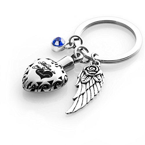 Cremation Urn keychains Always in My Heart Memorial Pendant Keepsake Ash Locket Rose Key Ring Vintage Angel Wing Charm Jewelry