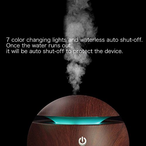 Ultrasonic Essential Oil Diffuser - Humidifier with LED Lights, Compact Size, Silent Operation and Easy-Travel USB Power (Deep wood grain) by JUN-Q (Image #6)