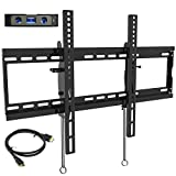 Everstone Tilt TV Wall Mount Bracket for Most 32-80 Inch LED,LCD,OLED,Plasma Flat Screen,Curved TVs,Low Profile,Up To VESA 600 x 400 and 165 LBS,Includes HDMI Cable and Level,Fits 16',18',24'Studs