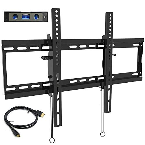 (Everstone Tilt TV Wall Mount Bracket for Most 32-80 Inch LED,LCD,OLED,Plasma Flat Screen,Curved TVs,Low Profile,Up to VESA 600 x 400 and 165 LBS,Includes HDMI Cable and Level,Fits 16