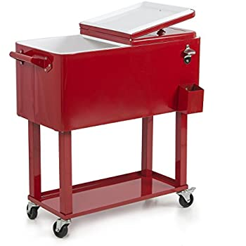 Belleze Rolling Ice Chest Portable Patio Drink Party Cooler Cart, 80 Quart,  Red