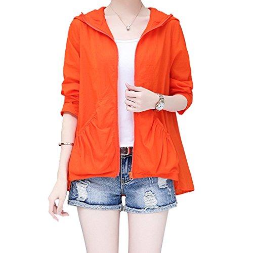 日焼け止め服 レディース  薄手 透け感 ゆったり 紫外線防止 防撥水 戸外 長袖 エアコンのシャツ カーデ パーカー 上着 (Color : オレンジ, サイズ : XL)
