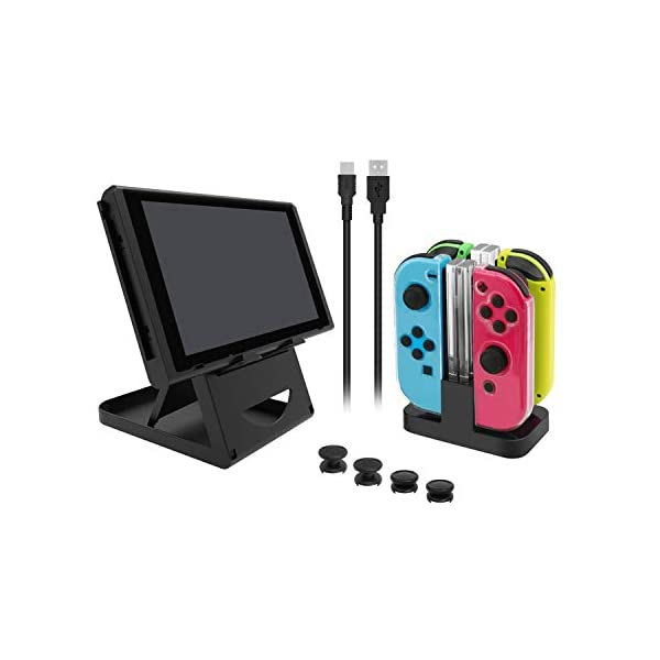 Nintendo Switch Accessories Bundle, Playstand, Joy con Charging Dock, TPU Protective Case, 2 Pair Thumb Grips and Charging Cable. 2
