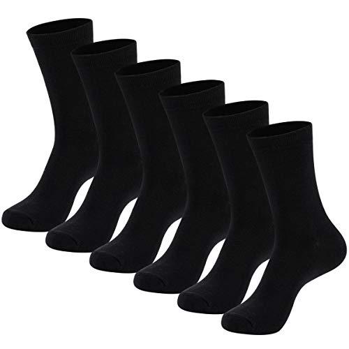 Black Socks Dress - Men's Dress Socks - Cotton Socks for Business and Casual US Size 9-12 6 Pack, Black