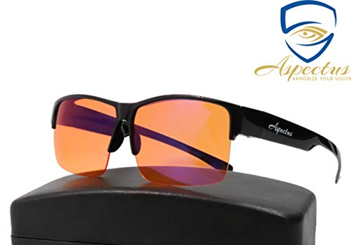 Aspectus Fitover Blue Light Blocking Glasses | Fits Over Prescription Eyeglasses | Amber Lenses for Deep Sleep & Relaxation | Enhance Sleep Cycle | Reduce Eyestrain Migraine Headaches ()