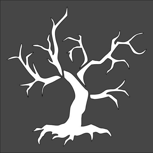 Stencil Old Dead Tree Without Leaves, Plastic Reusable (Dead Tree Stencil)