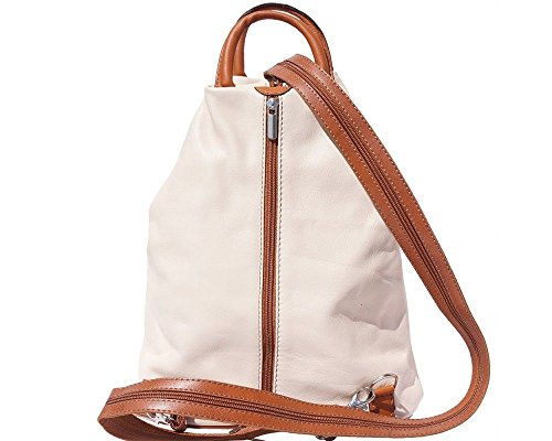 Dark Backpack Bag in Shoulder Italian 2061 Italy Brown Handcrafted Beige Leather Tan Florence amp; w6Swxz