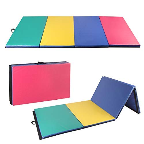 Easyzon Folding Gymnastics Mat Thick Exercise Tumbling 4 Panel Mat with Carrying Handle for Gym Fitness Exercise Aerobics 4'x10'x2