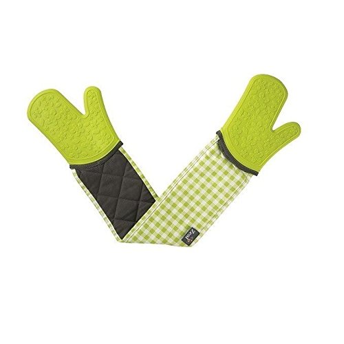 Double Oven Gloves Silicone - Gingham Lime (Pack of 2)