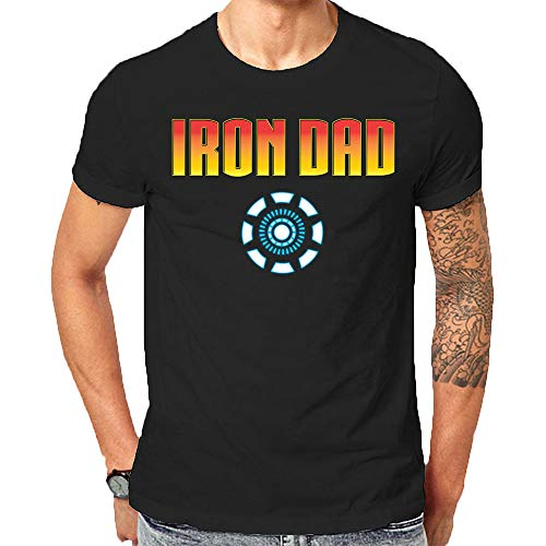 Made in USA Avengers Themed Iron Man T-Shirt for The Best Step Dad in The World Fathers Day Shirt (Large) Black