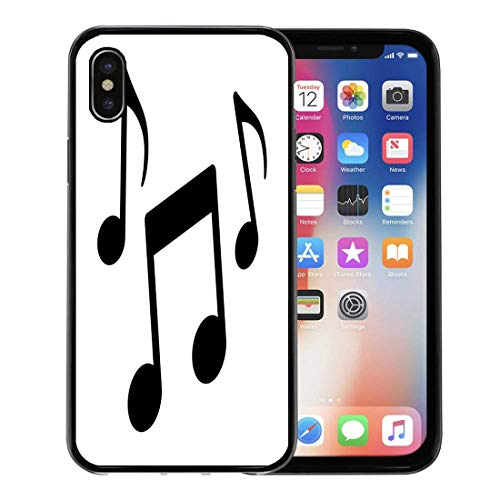 (Semtomn Phone Case for Apple iPhone Xs case,Radio Music Notes Song Melody Tune Flat for Musical Apps and Websites Notation for iPhone X Case,Rubber Border Protective Case,Black)