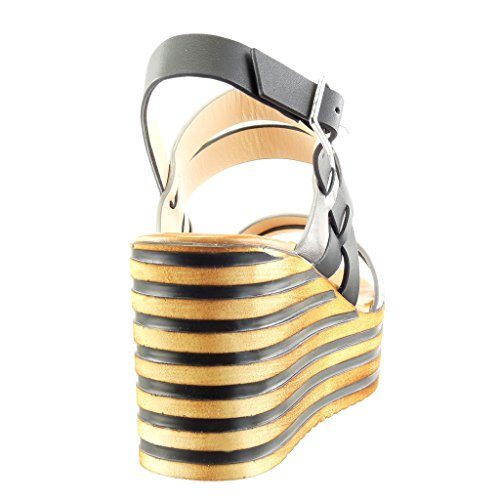 Angkorly - Zapatillas de Moda Sandalias Mules zapatillas de plataforma mujer líneas brillantes Talón Plataforma 8 CM - Negro