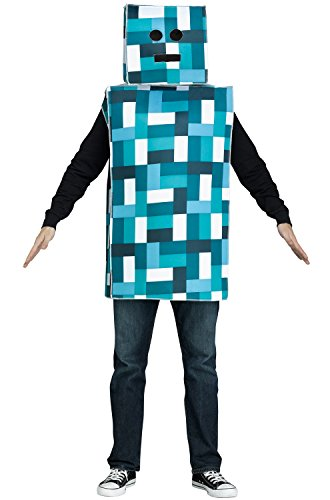 Adult Pixel Robot Monster Costume Blue Costume ()