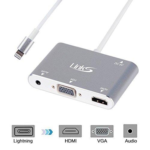 Lightning to HDMI VGA Audio Adapter Converter,LinkS 3 in 1 Lightning Digital AV Adapter For iPhone 7 / 7 Plus / 6 / 6 Plus / 6S / Apple iPad to Mirror on HDTV Projector Monitor