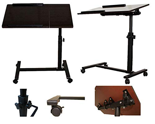 FANTASYCART Portable Laptop Notebook Rolling Table Cart Stand Tiltable Tabletop Desk Overbed ()