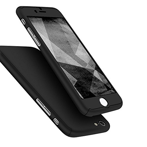 iPhone 6 Case, iPhone 6s Case, Jaorty 360 Full Body Protection Hard Slim Case Coated Non Slip Matte Surface + Tempered Glass Screen Protector for Apple iPhone 6s / 6 (4.7-inch) - Black