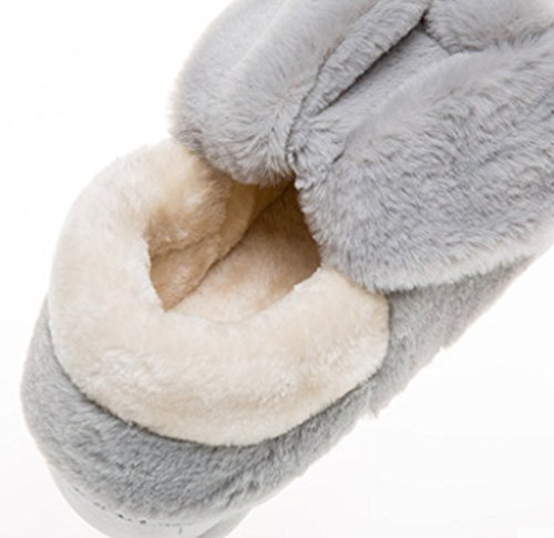 Chinese Cute Warm Bunny Gray Slippers Fluffy Slipper Womens Cattior nOqRAxFwTF