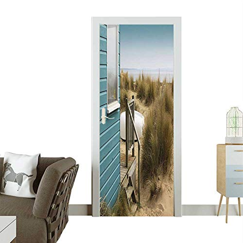 Homesonne 3D Door Decals The Sandy Beach Porch Sea Coast Scenery Tan Turquoise Army Green Self Adhesive Door DecalW38.5 x H79 INCH