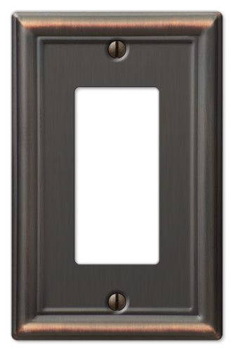 Rocker Switchplate Cover - Amerelle Chelsea Single Rocker-GFCI Steel Wallplate in Aged Bronze